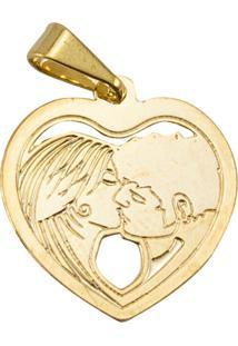 Pingente Coração Casal Tudo Jóias Folheado Dourado