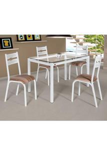 Conjunto De Mesa De Cozinha Com 4 Lugares Luna Corino Branco E Capuccino 75 Cm