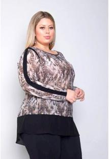 Blusa Plus Size Palank Sua Linda Feminina - Feminino-Marrom