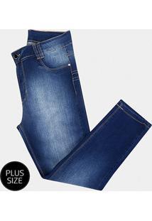 Calça Jeans Sawary Cropped Plus Size Feminina - Feminino-Azul