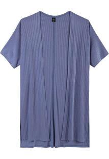 Casaco Básico Feminino Em Viscose Azul