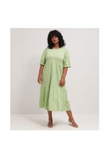 Vestido Midi Em Algodão Com Babados E Mangas Bufantes Curve & Plus Size | Ashua Curve E Plus Size | Verde | Eg