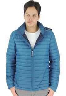 Jaqueta Masculina De Pluma Ultralight Alpine Com Capuz Removível - Masculino-Azul