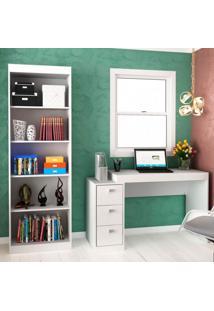 Conjunto Home Office Com Escrivaninha 3 Gavetas E Estante Para Livros Móveis Branco Tx/Branco Tx