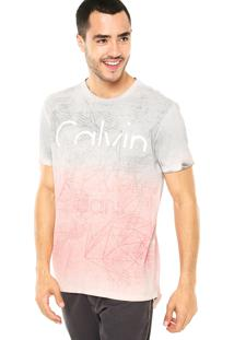 Camiseta Calvin Klein Jeans Color Cinza/Vermelha