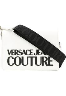 Versace Jeans Couture Logo Print Detachable Strap Crossbody Bag - Branco