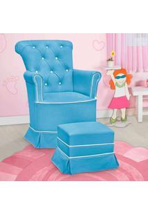 Poltrona Amamentação Paola Fixa E Puff Corino Azul E Branco - Confortável