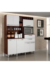 Cozinha Compacta Monte Rey 7 Pt 2 Gv Castanho E Branca