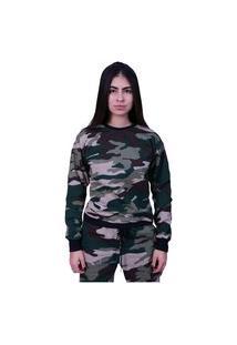 Blusa Moletom Plus Size Lisa Fechada Camuflado