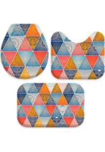 Jogo Tapate Love Decors Para Banheiro Geometrico Único Azul - Kanui