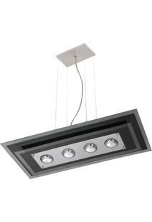 Pendente Saturno Aluminio E Vidro Lmr 142 Escovado Bivolt