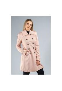 Trench Coat Belfast Alfaitaria Texturizado Rosa