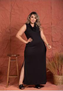 Vestido Longo Sauípe Canelada Black Plus Size