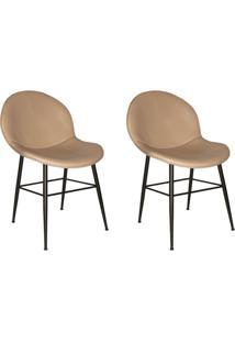 Conjunto Com 2 Cadeiras De Cozinha Dulce Corino Bege