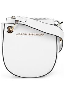 Bolsa Couro Jorge Bischoff Mini Bag Transversal Argolas Feminina - Feminino-Branco