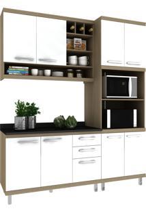 Cozinha New Vitoria 13 Avelã Hecol Móveis Branco/Marrom
