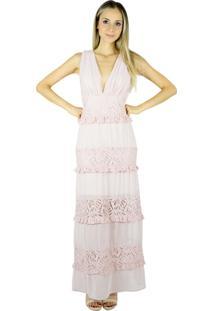 b0f7836e5fb2 ... Vestido Liage Longo Renda E Chiffon Decote V Rosa Antigo/Rosa Claro