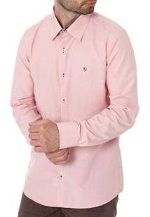 Camisa Enzo Vitorino Slim Manga Longa Masculina - Masculino-Rosa
