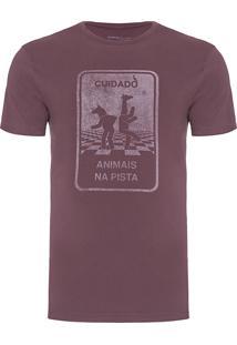 Camiseta Masculina Estampada Animais - Vinho