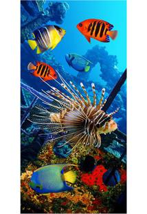 Toalha De Praia Resort Color Fish- Azul & Laranja- 7Buettner