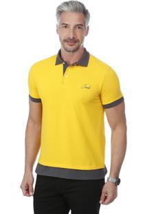 Camisa Polo Javali Bordado Amarela