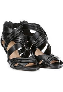 Sandália Couro Shoestock Salto Fino Drapeada Feminina - Feminino-Preto