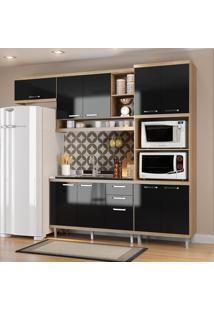 Cozinha Compacta Sem Tampo 9 Portas 5828 Argila/Preto - Multimóveis