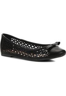 Sapatilha Shoestock Laser Basic - Feminino-Preto