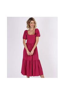 Vestido Feminino Midi Com Recortes Manga Bufante Rosa