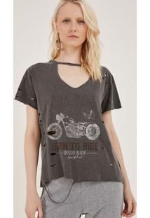 "Camiseta Mescla ""New York"" Com Destroyed - Cinza & Brancpop Up"