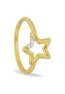 Anel Em Prata Estrela Vazada Lisa Zircônia Branca – An21497 Dourado