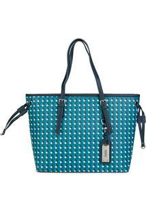 Bolsa Santa Lolla Shopper Geométrica Feminina - Feminino-Azul