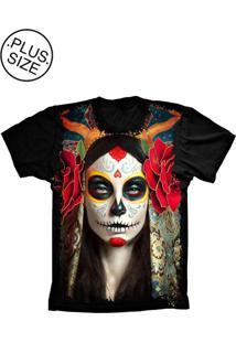 Camiseta Lu Geek Plus Size Rosa Mexicana Preto
