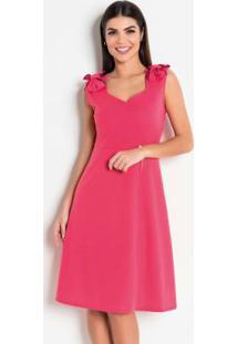 Vestido Coral Com Laço Moda Evangélica