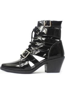 Bota Gladiadora Damannu Shoes Jennie Verniz Preto
