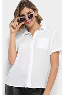 Camisa Lily Fashion Manga Curta Com Laço Feminina - Feminino-Branco