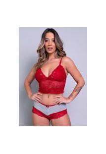 Baby Doll Feminino Serra E Mar Modas Conjunto Pâmela Renda Vermelho