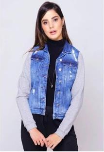 Jaqueta Jeans Com Moletom Mescla Sob Desfiada Forrada Pelinhos Feminina - Feminino