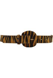 Cinto Crisfael Acessórios De Couro Estapa Em Onça/ Zebra Onça
