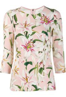 Dolce & Gabbana Blusa Com Estampa De Lírios - Rosa