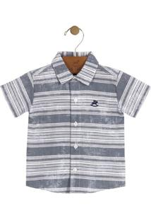 Camisa Listrada- Cinza & Brancaup Baby - Up Kids