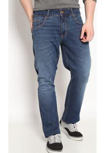 Jeans Paul Regular Reto Com Pespontos- Azul Escuro- Forum