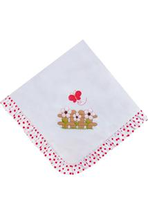 Manta Enxoval Piquet Padroeira Baby Ursa Butterfly Vermelha - Tricae