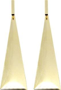 Brinco Piuka Geométrico Triangulo Grande Escovado Daphy Dourado
