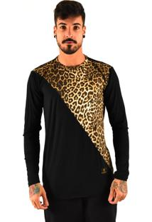 Camiseta Rich Young Manga Longa Animal Print Preta