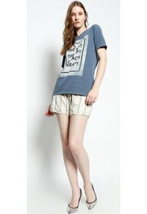 "Camiseta ""The Best Therapy..."" - Azul Escuro & Pretacanal"