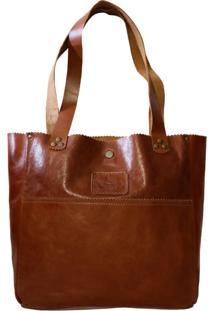 Bolsa Line Store Leather Shopping Bag Whisky Rústico