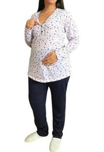 Pijama Longo Maternidade E Amamentação Inverno Floral Linda Gestante Feminino - Feminino-Branco+Marinho
