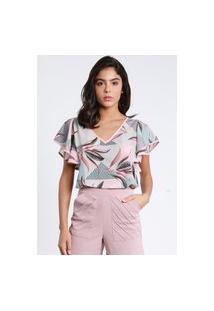 Blusa Pks Decote V Estampada Rosa
