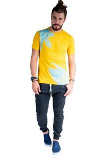 Camiseta Mister Fish Estampado Palmeiras Plus Size Mostarda